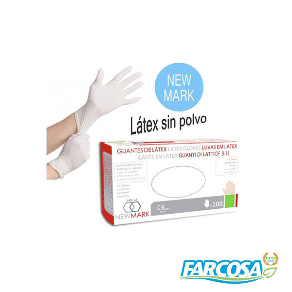 GUANTE LATEX S/P NEW MARK T/7 C/10 PACK 100U